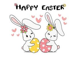 två par söta vårkanin kramar påskägg. glad vår påsk, söt tecknad klotter ritning illustration vektor