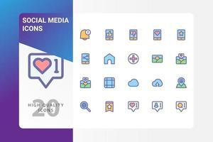 Social-Media-Icon-Pack isoliert auf weißem Hintergrund. für Ihr Website-Design, Logo, App, UI. Vektorgrafiken Illustration und bearbeitbarer Strich. eps 10. vektor