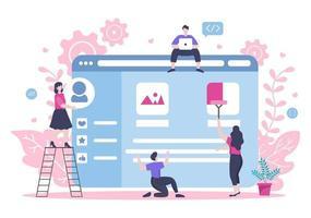 webbutveckling platta illustrationer för webbplatser, programmering, marknadsföringsmaterial, företagspresentationer, onlineannonsering och mobilapplikationer vektor