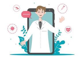 online sjukvård och medicinskt begrepp av läkare vektorillustration, medicin konsultation och behandling via tillämpning av smartphone eller dator ansluten internet klinik vektor