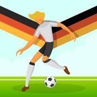 Moderner minimalistischer Deutschland-Fußball-Spieler für Weltcup 2018 tröpfeln einen Ball mit Steigungshintergrundvektor Illustration