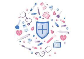 Vielen Dank, Doktor und Krankenschwester, Illustrationspaket mit Dank an alle medizinischen Assistenten für den Kampf gegen das Coronavirus und die Rettung vieler Leben vektor