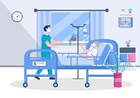 Arzt oder Krankenschwester in Gesichtsmaske hilft einem Patienten, die Krankenschwester schiebt den Rollstuhl mit behinderten Mann. Konzentration des medizinischen Personals vektor