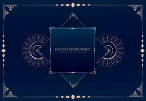 eleganter goldener Rahmen im Linienstil auf Blau vektor