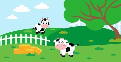 niedliche Karikaturvektorillustration der ländlichen Wiese der Kuh und des Bauernhofs vektor