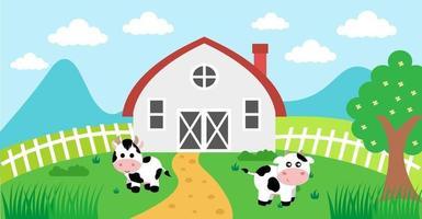 söt tecknad vektorillustration av ko och gård landsbygd äng vektor
