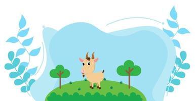 niedliche Karikaturvektorillustration der Ziegen- und Bauernhofwiese vektor