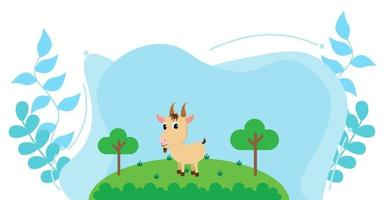 söt tecknad vektorillustration av get och gård landsbygd äng vektor