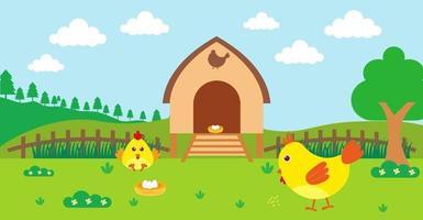 söt tecknad vektorillustration av kyckling och lantlig äng vektor