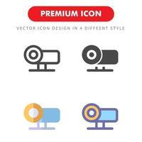 projektor ikon pack isolerad på vit bakgrund. för din webbdesign, logotyp, app, ui. vektorgrafikillustration och redigerbar stroke. eps 10. vektor