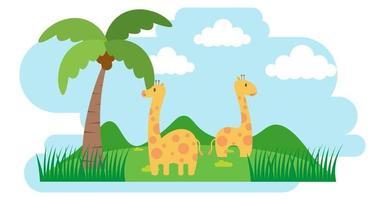 giraffvektor söta djur i tecknad stil, vilda djur, mönster för babykläder. handritade karaktärer vektor