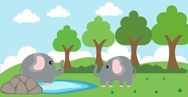 elefantvektor söta djur i tecknad stil, vilda djur, mönster för babykläder. handritade karaktärer vektor