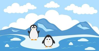 pingvinvektor söta djur i tecknad stil, vilda djur, mönster för babykläder. handritade karaktärer vektor