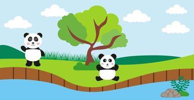 panda vektor söta djur i tecknad stil, vilda djur, mönster för babykläder. handritade karaktärer