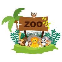 vektor söta djungeldjur i tecknad stil, vilda djur, djurparkdesigner för bakgrund, babykläder. handritade karaktärer