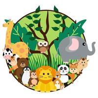 vektor söta djungeldjur i tecknad stil, vilda djur, zoo-mönster för bakgrund, babykläder. handritade karaktärer