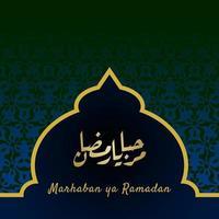 marhaban ya ramadhan banner med kalligrafi, moské på pastellfärg lämplig för gratulationskort, flygblad, affisch, omslag, webb, sociala medier eller berättelser