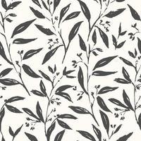 handritad växt svart och vitt sömlöst mönster