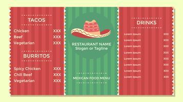 Mexikanischer Lebensmittel-Menü-Flieger-Schablonen-Vektor vektor