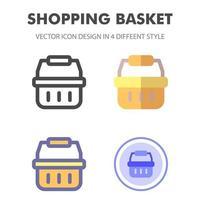 Einkaufskorb Icon Pack in verschiedenen Stilen vektor