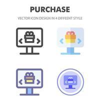 Kauf Icon Pack in verschiedenen Stilen vektor