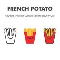 französische Kartoffelikone. kawai und niedliche Nahrungsmittelillustration. für Ihr Website-Design, Logo, App, UI. Vektorgrafiken Illustration und bearbeitbarer Strich. eps 10. vektor