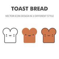 Toastbrot-Symbol. kawai und niedliche Nahrungsmittelillustration. für Ihr Website-Design, Logo, App, UI. Vektorgrafiken Illustration und bearbeitbarer Strich. eps 10. vektor
