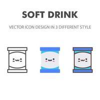 Softdrink-Symbol. kawai und niedliche Nahrungsmittelillustration. für Ihr Website-Design, Logo, App, UI. Vektorgrafiken Illustration und bearbeitbarer Strich. eps 10. vektor