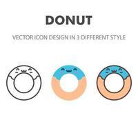 Donut-Symbol. kawai und niedliche Nahrungsmittelillustration. für Ihr Website-Design, Logo, App, UI. Vektorgrafiken Illustration und bearbeitbarer Strich. eps 10. vektor