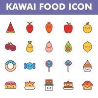 kawai food icon pack lokalisiert auf weißem hintergrund. kawai und niedliche Nahrungsmittelillustration. für Ihr Website-Design, Logo, App, UI. Vektorgrafiken Illustration und bearbeitbarer Strich. eps 10. vektor