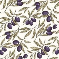 nahtloses Muster der Olivenpflanze vektor