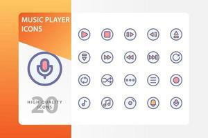 musikspelare ikon pack isolerad på vit bakgrund. för din webbdesign, logotyp, app, ui. vektorgrafikillustration och redigerbar stroke. eps 10. vektor