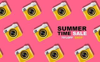 Sommerzeit Design mit Kameras, Pop-Art-Banner vektor