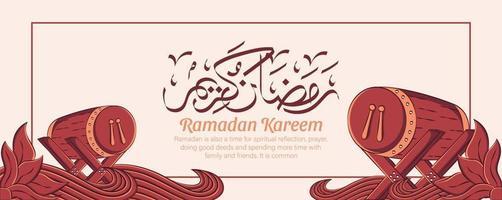 Ramadan Kareem Banner mit Hand gezeichneten islamischen Illustration Ornament auf weißem Hintergrund. vektor