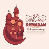 Hand gezeichnete Illustration des Ramadan Kareem oder Eid Mubarak Grußkonzepts im weißen Hintergrund. vektor
