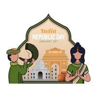 Hand gezeichnete Illustration des Tages der indischen Republik vektor