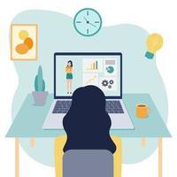 Vektor flache Illustration des Online-Lernens zu Hause. Das Mädchen sitzt vor ihrem Laptop und schaut auf den Bildschirm