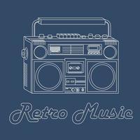 Vektorillustration eines Tonbandgeräts mit einem weißen Umriss auf einem blauen Hintergrund, Retro-Stil
