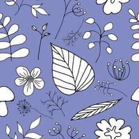 Vektor nahtloses Blumenmuster auf einem lila Hintergrund
