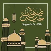 eid al-adha gratulationskort med handritad moské i grön bakgrund. vektor