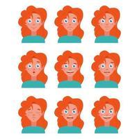 vektor platt bild med en uppsättning olika känslor. porträtt av en ung flicka med rött hår i 9 versioner på en vit bakgrund