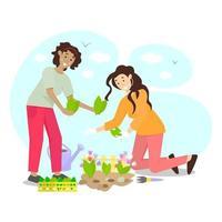 glückliche Gartenarbeit mit zwei lächelnden Mädchen, die Blumensämlinge pflanzen vektor