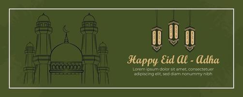 eid al-adha banner mall med handritade muslimer, moské, lykta och islamisk prydnad i grön bakgrund. vektor