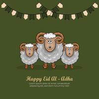 eid al-adha gratulationskort med handritade får i grön bakgrund. vektor