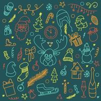 Vektor Neujahrsweihnachtsset auf einem Tafelhintergrund, im Gekritzelstil, Kontursymbole, viele Elemente, flacher Stil, mehrfarbige Buntstifte