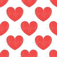 Vektor nahtloses Muster eines Herzens auf einem weißen Hintergrund, Kardiogramm, Herzschlag