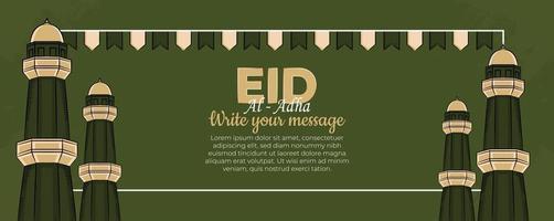 eid al-adha Fahnenschablone mit handgezeichneten muslimischen Leuten, Moschee, Laterne und islamischer Verzierung im grünen Hintergrund. vektor