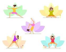 Eine Gruppe von Frauen, die Yoga zeigen, posiert Asanas vektor