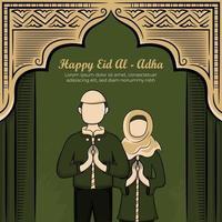 eid al-adha Grußkarte mit handgezeichneten muslimischen Leuten auf grünem Hintergrund. vektor