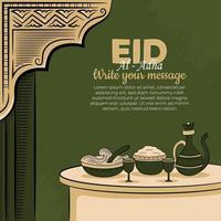 eid al-adha Grußkarten mit handgezeichnetem muslimischen Essen und islamischem Ornament im grünen Hintergrund. vektor
